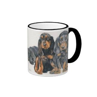 Black and Tan Coonhound Puppies Ringer Coffee Mug