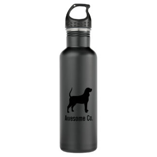Black and Tan Coonhound Silhouette with Text Water Bottle