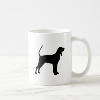 black and tan coonhound silo black coffee mug