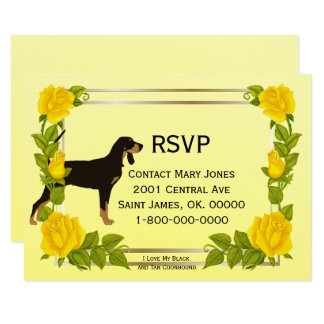 Black and Tan Coonhound, Yellow Roses, RSVP Card