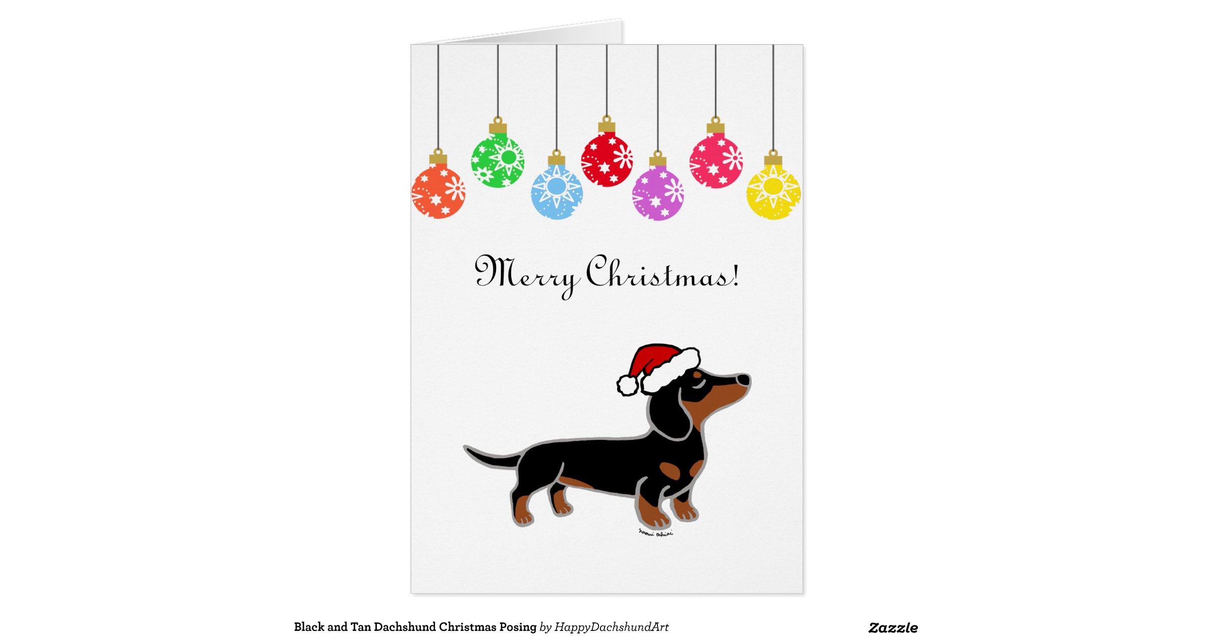 Snap Christmas Dachshund Black And Tan Greeting Card Photos On Pinterest