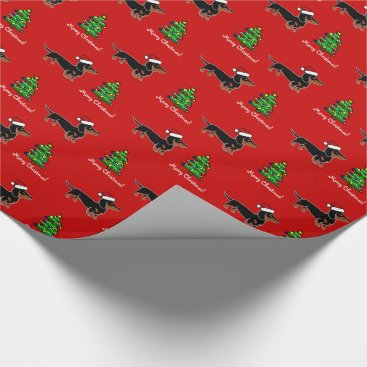 Christmas Themed Black and Tan Dachshund Christmas Posing Wrapping Paper