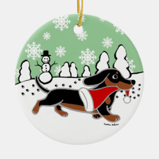 Black and Tan Dachshund Christmas Running Ceramic Ornament
