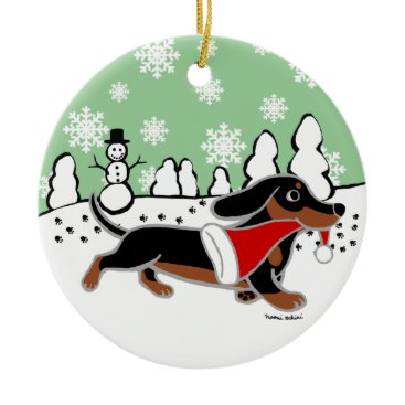 Christmas Themed Black and Tan Dachshund Christmas Running Ceramic Ornament