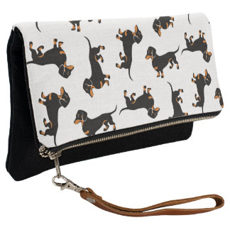 Black and Tan Dachshund Pattern Clutch