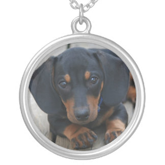 Black and Tan Dachshund Puppy Round Pendant Necklace