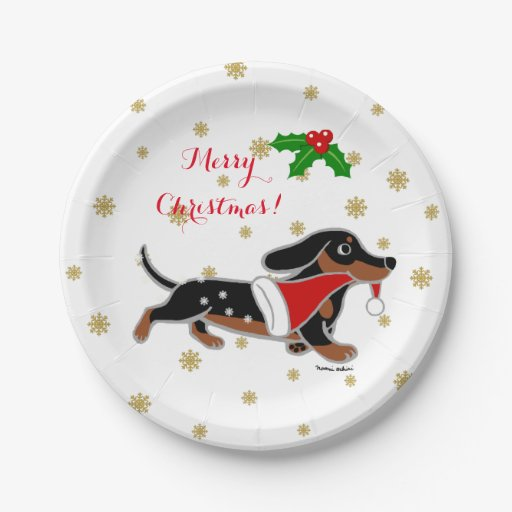 Black And Tan Dachshund Running Christmas Plate Zazzle