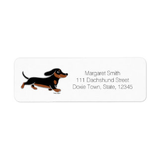 Black and Tan Dachshund Running Label