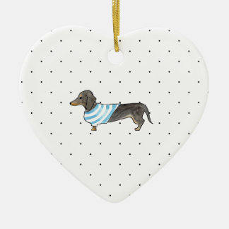 Black and Tan Dachshund - Watercolor andPolka Dots Double-Sided Heart Ceramic Christmas Ornament