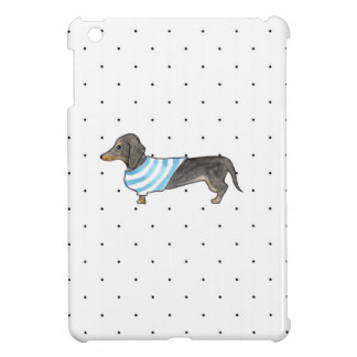 Black and Tan Dachshund - Watercolor andPolka Dots iPad Mini Cases