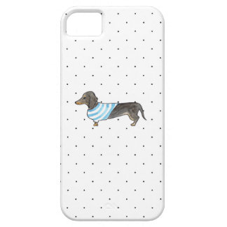 Black and Tan Dachshund - Watercolor andPolka Dots iPhone SE/5/5s Case