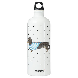 Black and Tan Dachshund - Watercolor andPolka Dots SIGG Traveler 1.0L Water Bottle