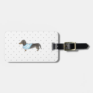 Black and Tan Dachshund - Watercolor andPolka Dots Tag For Luggage