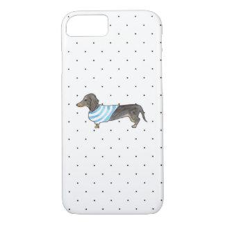 Black and Tan Dachshund - Watercolor & Polka Dots iPhone 7 Case