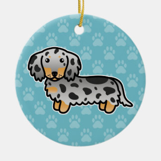 Black And Tan Dapple Long Coat Dachshund Dog Ceramic Ornament