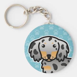 Black And Tan Dapple Long Coat Dachshund Dog Keychain
