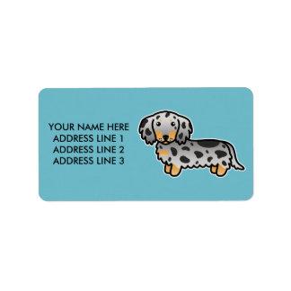 Black And Tan Dapple Long Coat Dachshund Dog Label