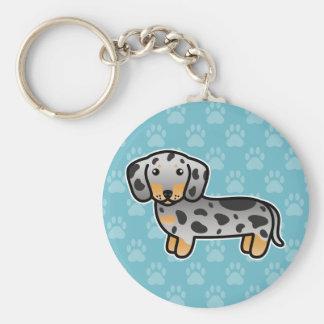 Black And Tan Dapple Smooth Coat Dachshund Dog Keychain