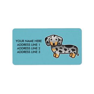 Black And Tan Dapple Smooth Coat Dachshund Dog Label