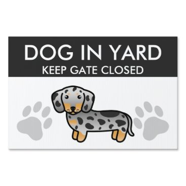 destei Black And Tan Dapple Smooth Coat Dachshund Dog Lawn Sign