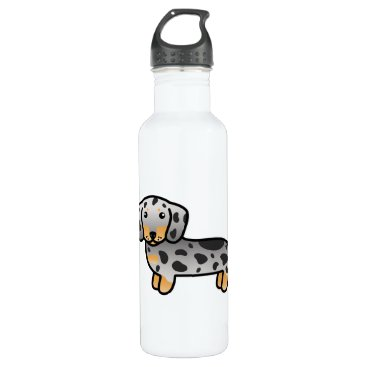 destei Black And Tan Dapple Smooth Coat Dachshund Dog Stainless Steel Water Bottle