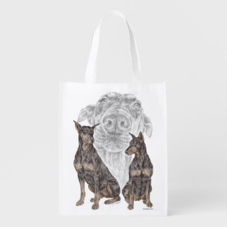 Black and Tan Doberman Dogs Grocery Bag
