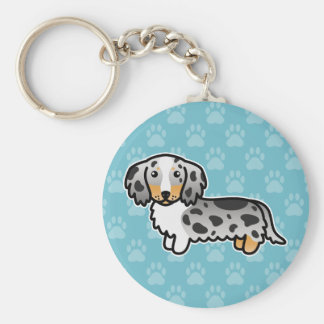 Black And Tan Double Dapple Long Coat Dachshund Basic Round Button Keychain