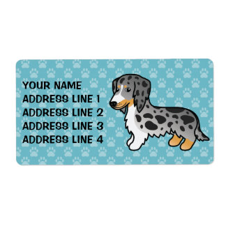 Black And Tan Double Dapple Long Coat Dachshund Shipping Label