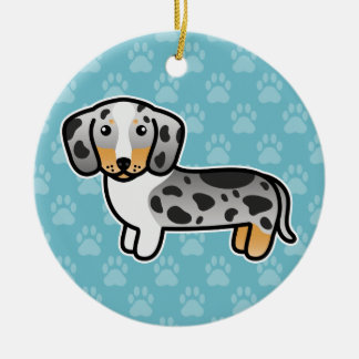 Black And Tan Double Dapple Smooth Coat Dachshund Ceramic Ornament