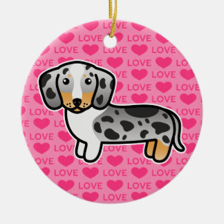 Black And Tan Double Dapple Smooth Coat Dachshund Ornaments