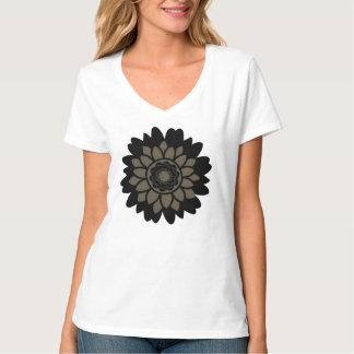 Black and Tan Flower Design T-shirts