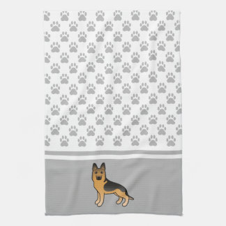 Black And Tan German Shepherd With Paws Pattern Towels