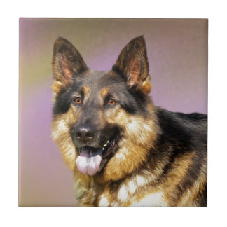 Black and Tan GSD Small Square Tile