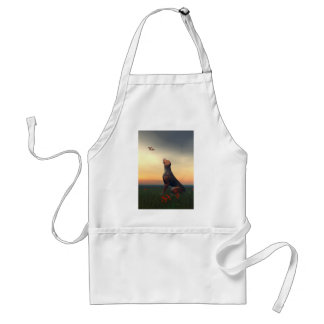 Black and tan hound dog and bird adult apron
