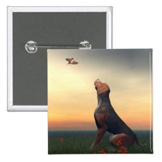 Black and tan hound dog and bird pinback button