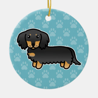 Black And Tan Long Coat Dachshund Cartoon Dog Ceramic Ornament
