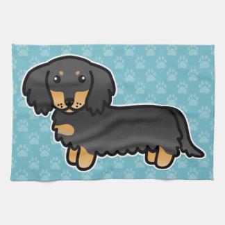 Black And Tan Long Coat Dachshund Cartoon Dog Kitchen Towel