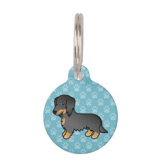 Black And Tan Long Coat Dachshund Dog Pet ID Tag