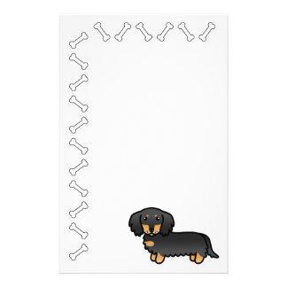 Black And Tan Long Coat Dachshund Dog Stationery