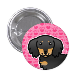 Black And Tan Long Coat Dachshund  Love 1 Inch Round Button