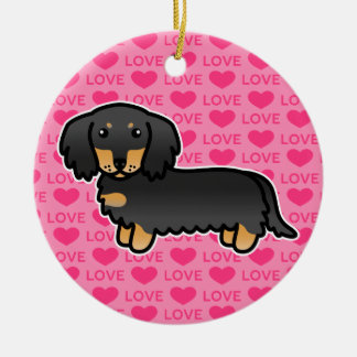 Black And Tan Long Coat Dachshund On Pink Ceramic Ornament