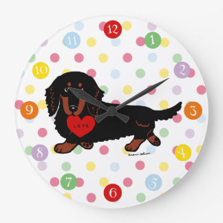 Black and Tan Long Haired Dachshund 1 Large Clock