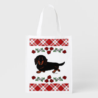 Black and Tan Long Haired Dachshund 1 Reusable Grocery Bag