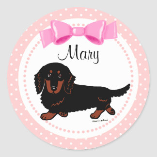 Black and Tan Long Haired Dachshund 1 Classic Round Sticker
