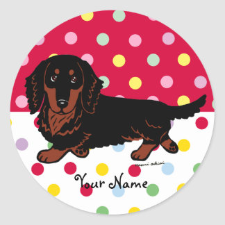 Black and Tan Long Haired Dachshund 1 Round Stickers