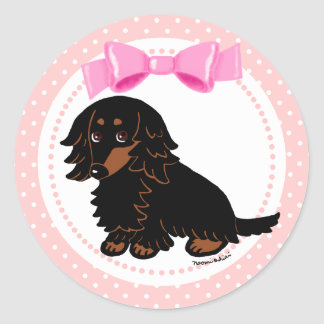 Black and Tan Long Haired Dachshund 2 Classic Round Sticker