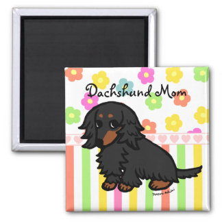 Black and Tan Long Haired Dachshund 2 Refrigerator Magnet