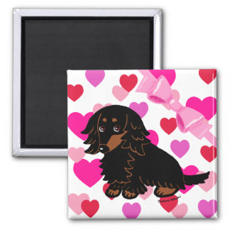 Black and Tan Long Haired Dachshund 3 Refrigerator Magnet