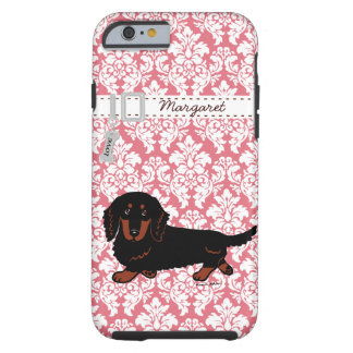 Black and Tan Long Haired Dachshund Walking Tough iPhone 6 Case
