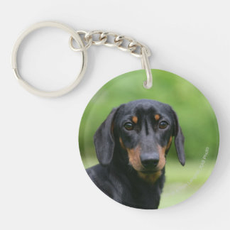 Black and Tan Miniture Dachshund 1 Double-Sided Round Acrylic Keychain